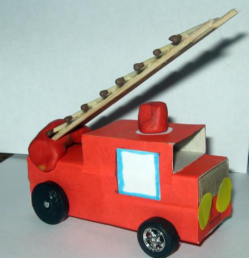 Как сделать пожарную машину из спичечных коробков